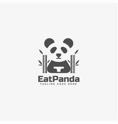 logo panda silhouette style vector image
