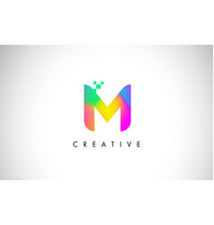 M colorful logo letter design creative rainbow vector