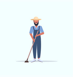male gardener using hoe countryman hoeing in vector image