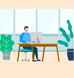 Man working project in office worker with laptop vector