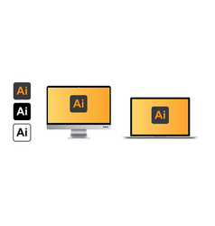 Mockup of a realistic laptop and tablet with adobe vector