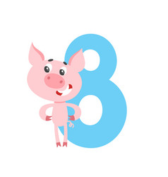number eight with cute cartoon pig isolated on vector image