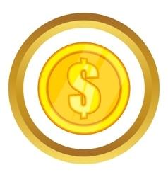 One gold coin icon vector