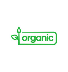 Organic green rounded rectangle sticker with vector