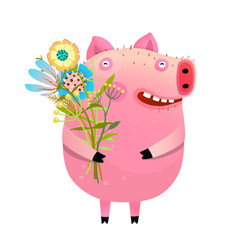 pig with bouquet of flowers vector image