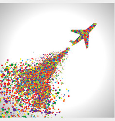 Plane made by dots vector