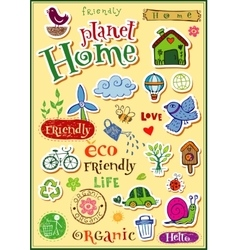 Planet home doodle set vector