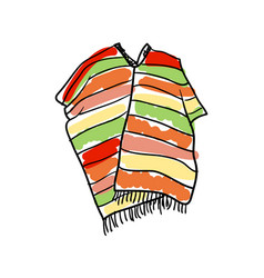 Poncho clothing hand drawn icon vector