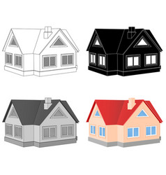 Private cottage icons set vector