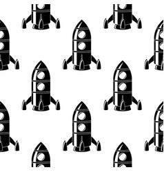 rocket black doodle drawing seamless pattern vector image