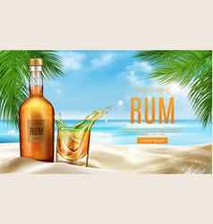Rum bottle and glass with ice stand on sandy beach vector