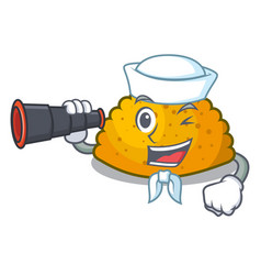Sailor with binocular fried patties isolated on vector