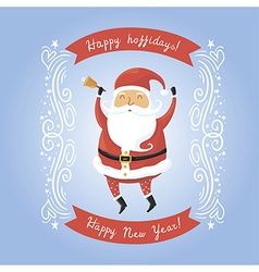 Santa Claus with bell for retro christmas card vector