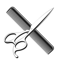 Scissors and comb silhouette for a beauty salon vector