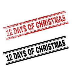 Scratched textured and clean 12 days of christmas vector
