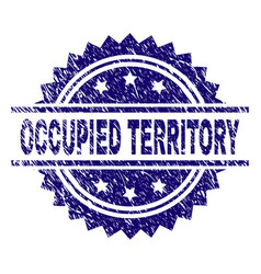 Scratched textured occupied territory stamp seal vector