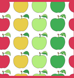 seamless pattern with cartoon colorful apples vector image