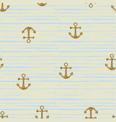 seamless pattern with gold anchors vector image