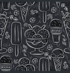 Seamless patterns with ice cream on grunge vector