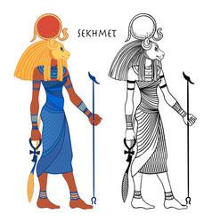 Sekhmet goddess sun fire plagues vector