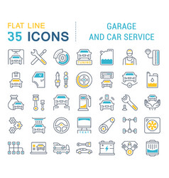 set line icons garage and car service vector image