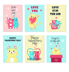 Set of cards with cute cats in love vector