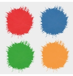 Set of colored spots of paint silhouettes the vector