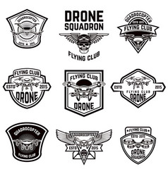 set of emblems with drone vector image