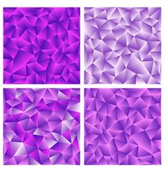 set of purple polygonal background vector image