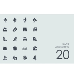 Set of windsurfing icons vector