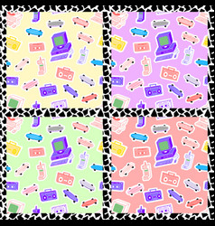 Set patterns in style 80s 90s vector