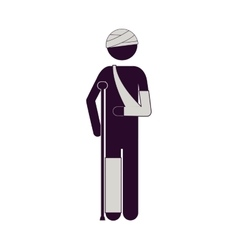 Silhouette man with bandages and crutches vector