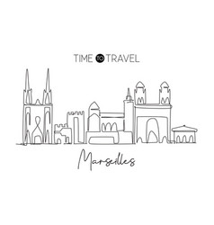 single continuous line drawing marseilles city vector image