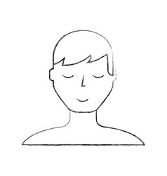 Sketch draw man face cartoon vector