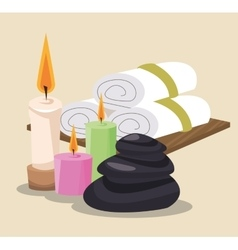 spa stones colored candles and towel vector image