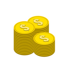 Stacks gold coins symbol flat isometric icon vector
