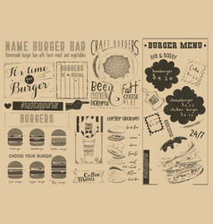 Template menu for burger house vector
