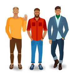 three handsome fashionable men vector image