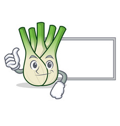 Thumbs up with board fennel character cartoon vector