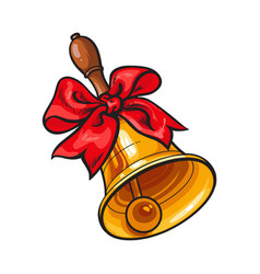Traditional golden school bell with red ribbon bow vector