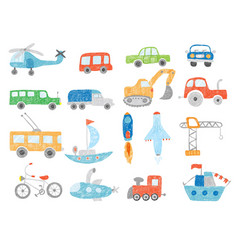 transport doodles kids drawing technics tractor vector image