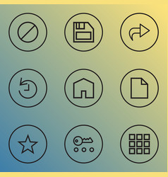 User icons line style set with application floppy vector
