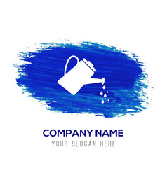 watering can icon - blue watercolor background vector image