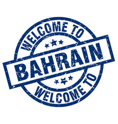 Welcome to bahrain blue stamp vector