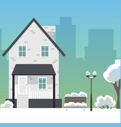 winter city street with suburban house and vector image