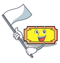 with flag ticket mascot cartoon style vector image