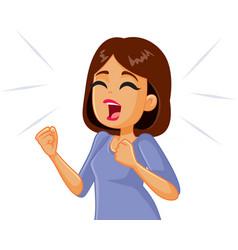 Woman screaming in desperation vector