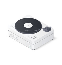 3d realistic turntable and amplifier isolated on vector image