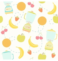 Blender and fruits pattern vector image vector image