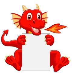 Cute dragon cartoon holding blank sign vector image